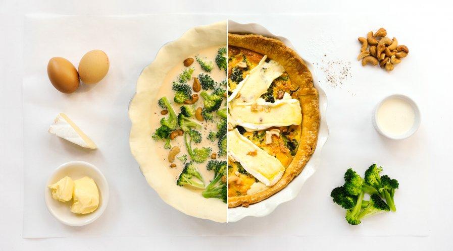 Broccoliquiche met brie stappenfoto