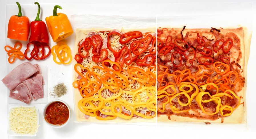 Paprika tricolore pizza