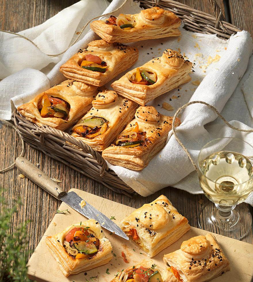 Bladerdeegpakketjes met mediterrane groenten Tante Fanny