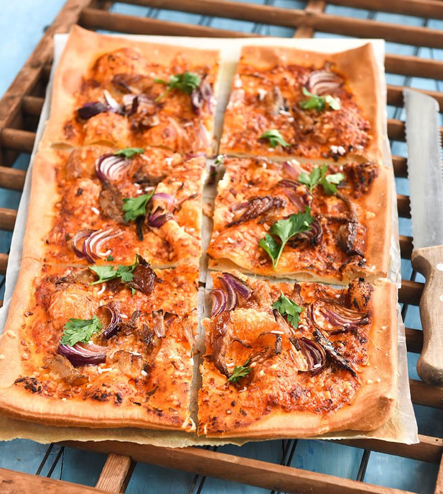 Spelt Pizza met gerookte Makreel Tante Fanny