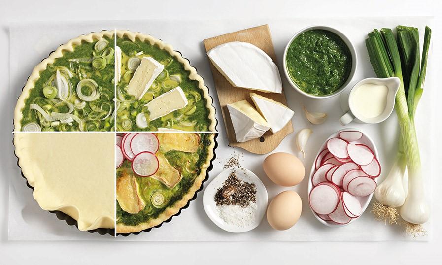 Quiche met spinazie en radijs