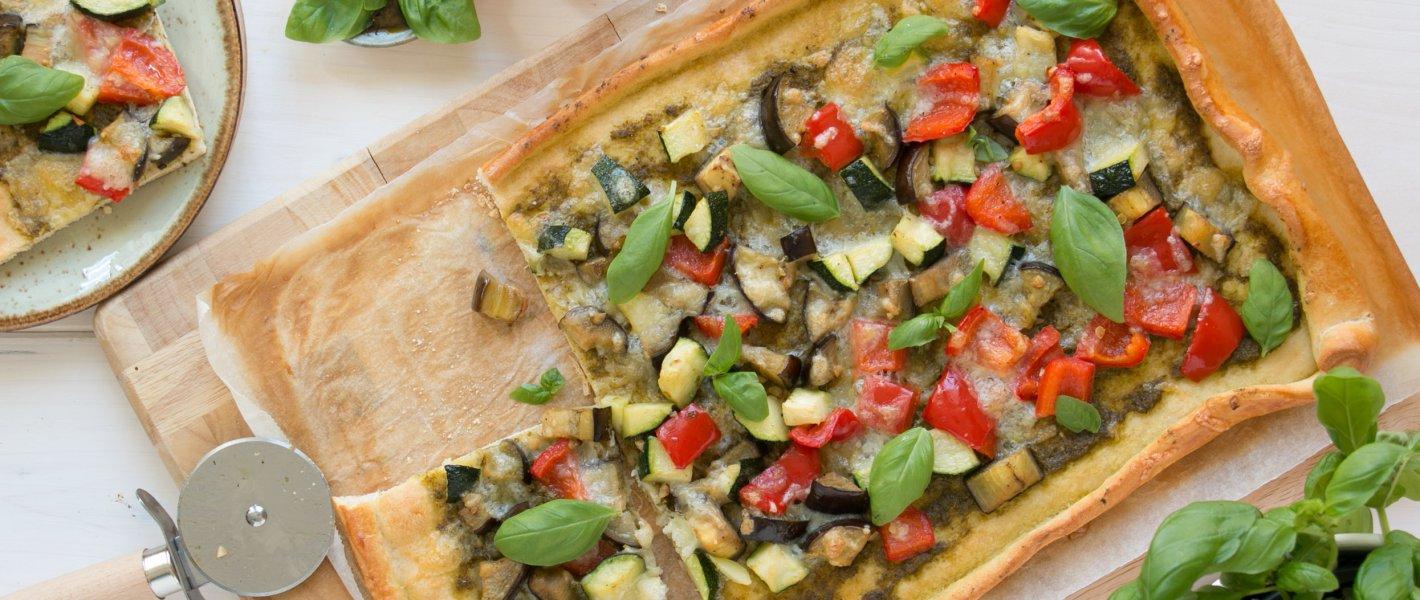 Zomerpizza met courgette en aubergine - Tante Fanny
