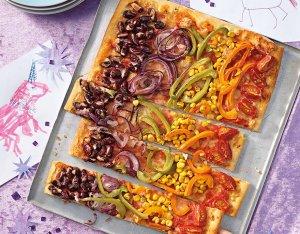 Recept: regenboogpizza met allerlei groenten
