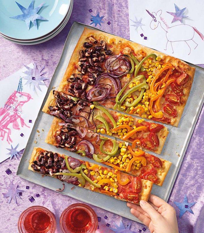 Kinderrecept: regenboog pizza met allerlei groenten - Tante Fanny.nl