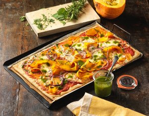 Recept: vegetarische pizza met pompoen