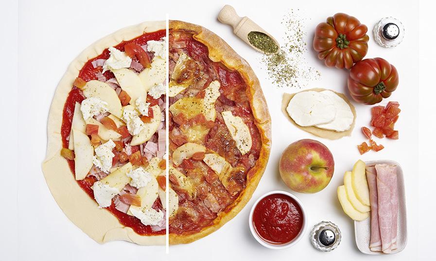 Pizza met ham en appel - Tante Fanny