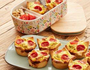 Recept: hartige muffins met erwten, tomaat en spek