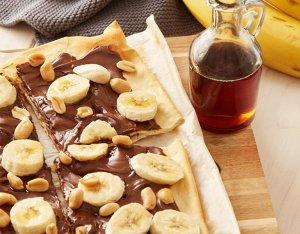 Recept: zoete flammkuchen met chocopasta en banaan